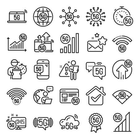 5G technology line icons. Mobile network, fast internet, phone connection. Hotspot signal, mobile telecommunications, wifi internet icons. 5G cellular network technology. Line icon set. Vector 矢量图像