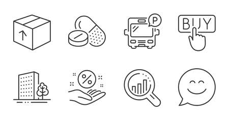 Seo analysis, Loan percent and Bus parking line icons set. Smile chat, Buying and Medical drugs signs. Package, Buildings symbols. Targeting chart, Discount hand, Public park. Business set. Vector