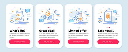 Set of Business icons, such as Cogwheel, Coffee cup, Freezing symbols. Mobile app mockup banners. Attachment line icons. Engineering tool, Latte drink, Air conditioning. Attach document. Vector Stock Illustratie