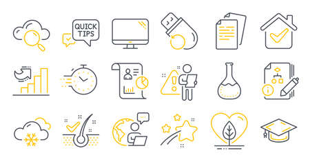Set of Science icons, such as Growth chart, Flash memory, Report symbols. Algorithm, Computer, Snow weather signs. Local grown, Chemistry lab, Quick tips. Anti-dandruff flakes, Timer. Vector Ilustracja