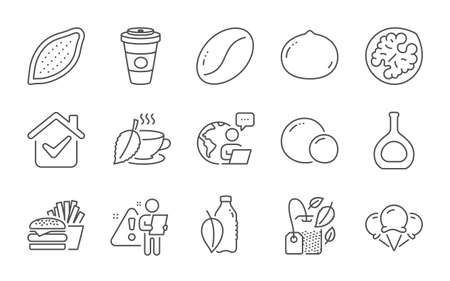 Cognac bottle, Walnut and Macadamia nut line icons set. Mint bag, Takeaway coffee and Coffee beans signs. Peas, Burger and Water bottle symbols. Cocoa nut, Mint tea and Ice creams. Vector