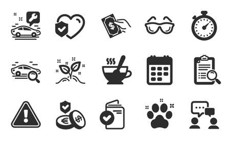 Search analysis, Startup concept and People chatting icons simple set. Car service, Tea cup and Eyeglasses signs. Savings insurance, Pay money and Search car symbols. Flat icons set. Vector