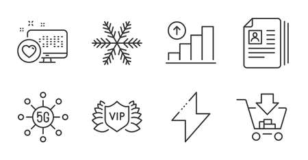 Cv documents, Vip security and Snowflake line icons set. Graph chart, Heart and Energy signs. 5g technology, Shopping symbols. Portfolio files, Exclusive privilege, Air conditioning. Vector