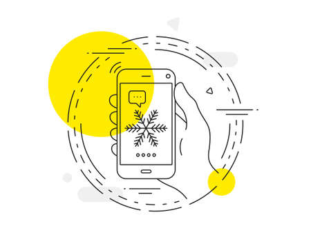 Snowflake line icon. Mobile phone vector button. Christmas snow sign. Winter or cold symbol. Snowflake line icon. Abstract concept badge. Vector