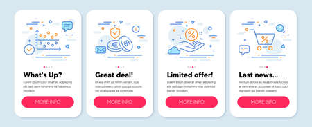 Set of Finance icons, such as Loan percent, Dot plot, Savings insurance symbols. Mobile app mockup banners. Special offer line icons. Discount hand, Presentation graph, Money exchange. Vector