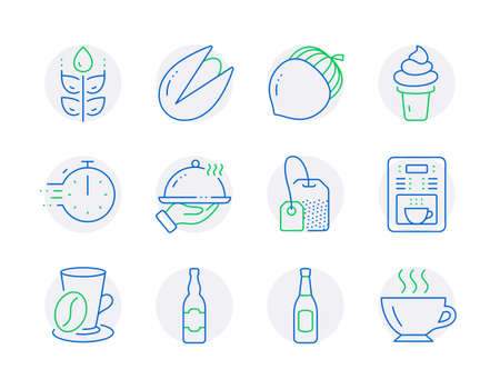 Food and drink icons set. Included icon as Tea bag, Coffee cup, Coffee maker signs. Cooking timer, Acorn, Ice cream symbols. Pistachio nut, Restaurant food, Beer bottle. Gluten free, Beer. Vector Illusztráció