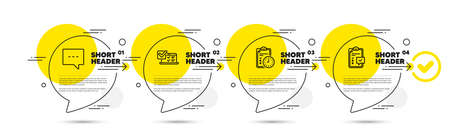 Online survey, Blog and Exam time line icons set. Timeline infograph speech bubbles. Checklist sign. Quiz test, Chat message, Checklist. Survey. Technology set. Infographics timeline banner. Vector