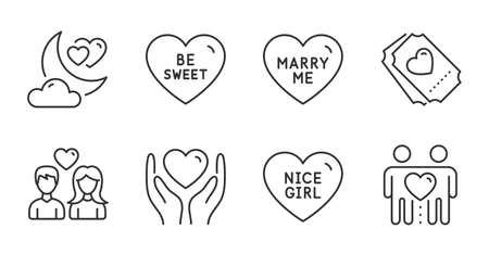 Be sweet, Love ticket and Nice girl line icons set. Hold heart, Marry me and Love night signs. Friends couple symbol. Heart, Friendship, Wedding. Love set. Quality line icons. Be sweet badge. Vector