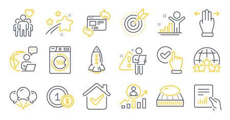 Set of Business icons, such as Multitasking gesture, Rocket, Mattress symbols. Dryer machine, Document, Rating stars signs. Checkbox, Ice creams, Friendship. Winner, Career ladder. Vector