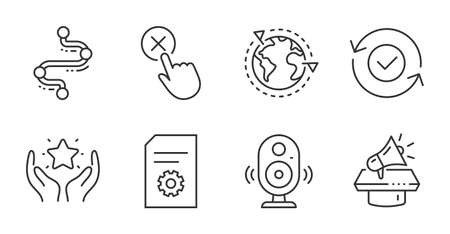 Reject click, Speaker and Security confirmed line icons set. Outsourcing, Ranking and Megaphone signs. File settings, Timeline symbols. Delete button, Music sound, All day protection. Vector