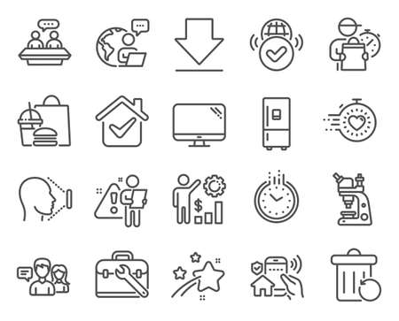 Technology icons set. Included icon as Employees talk, Timer, Employees wealth signs. People talking, Tool case, House security symbols. Computer, Downloading, Recovery trash. Time. Vector