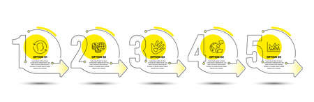 Face id, Social responsibility and World money line icons set. Timeline process infograph. Investment sign. Identification system, Helping hand, Global markets. Economic statistics. Vector
