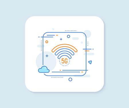 5g wi-fi technology line icon. Abstract square vector button. Wifi wireless network sign. Mobile internet symbol. 5g wifi line icon. Quality concept badge. Vector