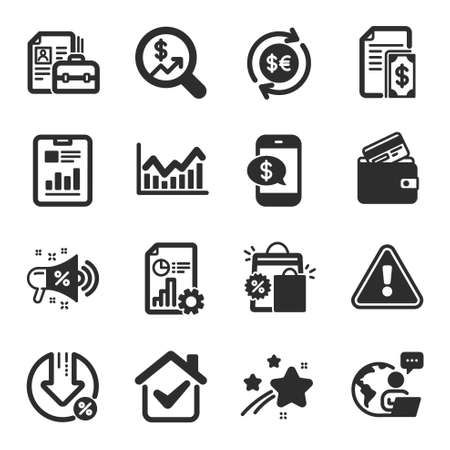 Set of Finance icons, such as Money currency, Debit card, Currency audit symbols. Shopping bags, Vacancy, Infochart signs. Phone payment, Loan percent, Report. Sale megaphone, Payment. Vector Vectores