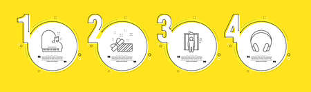Piano, Present and Elevator line icons set. Timeline process infograph. Headphones sign. Fortepiano, Gift, Lift. Music listening device. Business set. Yellow infographics timeline. Vector