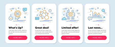 Set of Science icons, such as 5g technology, Employees teamwork, Integrity symbols. Mobile screen app banners. Investment graph line icons. Quality wi-fi, Collaboration, Social network. Vector
