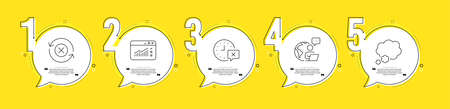 Talk bubble, Time and Web traffic line icons set. Timeline process infograph. Reject refresh sign. Chat message, Remove alarm, Website window. Update rejection. Technology set. Vector