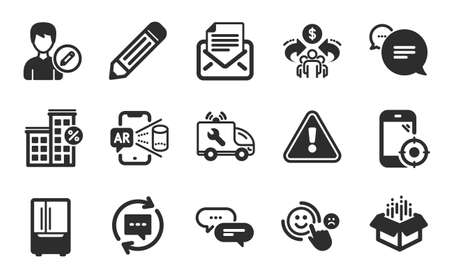 Open box, Update comments and Edit person icons simple set. Seo phone, Augmented reality and Sharing economy signs. Text message, Mail correspondence and Loan house symbols. Flat icons set. Vector
