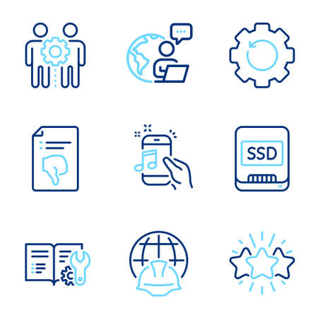 Technology icons set. Included icon as Star, Engineering documentation, Global engineering signs. Thumb down, Music phone, Ssd symbols. Employees teamwork, Recovery gear line icons. Vector 向量圖像