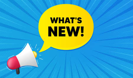 Whats new symbol. Background with megaphone. Special offer sign. New arrivals symbol. Megaphone banner. Whats new speech bubble. Loudspeaker background. Vector