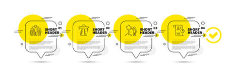 Star, Trash bin and Group line icons set. Timeline infograph speech bubble. Report sign. Launch rating, Garbage, Managers. Work statistics. Technology set. Infographics timeline process. Vector