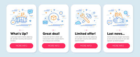 Set of Business icons, such as Return package, Spanner tool, Arena symbols. Mobile app mockup banners. Clapping hands line icons. Exchange goods, Repair, Sport stadium. Clap. Vector