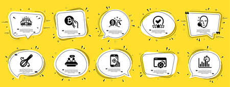 Business icons set. Speech bubble offer banners. Yellow coupon badge. Included icon as Seo phone, Report timer, Bitcoin mining signs. Arena stadium, Rating stars, Bitcoin pay symbols. Vector