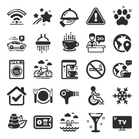 Hotel service icons. WiFi, Air conditioning and Coffee maker machine. Spa stones, swimming pool and bike rental icons. Hotel parking, safe and shower. Food, coffee cup. Flat icon set. Vector Ilustración de vector