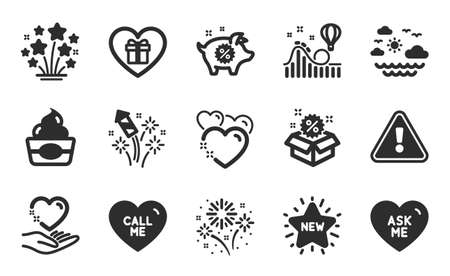 Ask me, Ice cream and Sale icons simple set. Fireworks, Piggy sale and New star signs. Call me, Travel sea and Fireworks rocket symbols. Hold heart, Heart and Romantic gift. Roller coaster. Vector Illusztráció