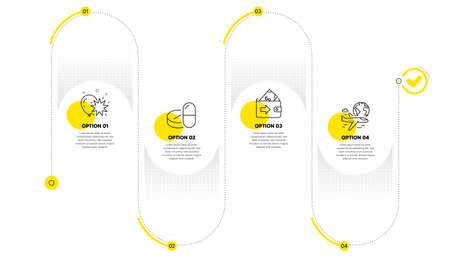 Medical drugs, Wallet and Balloon dart line icons set. Timeline process infograph. International flight sign. Medicine pills, Money payment, Attraction park. Sky travel. Business set. Vector