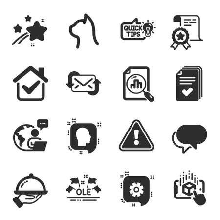 Set of Business icons, such as Talk bubble, Education idea, Head symbols. Pets care, Ole chant, Certificate signs. Restaurant food, Augmented reality, Handout. Analytics graph, Cogwheel. Vector