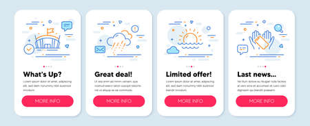 Set of Business icons, such as Arena, Sunset, Rainy weather symbols. Mobile app mockup banners. Smartphone holding line icons. Sport stadium, Sunny weather, Rain. Phone. Arena icons. Vector
