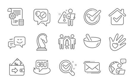 Marketing strategy, Chemistry lab and Partnership line icons set. Settings blueprint, Cooking mix and Messenger mail signs. 360 degree, Confirmed and Social responsibility symbols. Vector