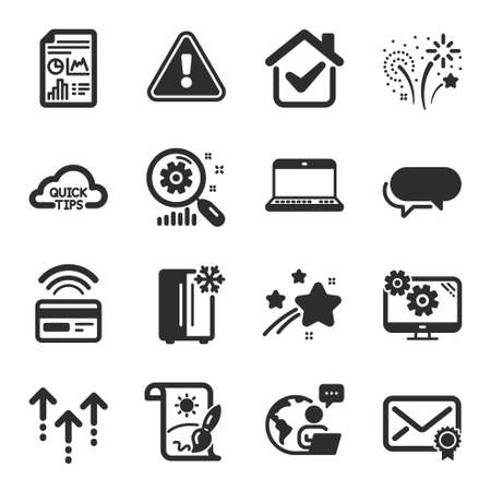 Set of Business icons, such as Verified mail, Refrigerator, Creative painting symbols. Messenger, Fireworks, Notebook signs. Swipe up, Search statistics, Report document. Settings. Vector 向量圖像