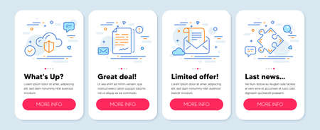 Set of Education icons, such as Mail newsletter, Document signature, Cloud protection symbols. Mobile screen app banners. Strategy line icons. Open e-mail, Agreement file, Storage security. Vector 向量圖像