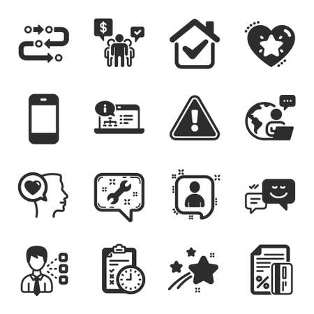 Set of Technology icons, such as Online documentation, Third party, Exam time symbols. Developers chat, Happy emotion, Credit card signs. Smartphone, Teamwork, Methodology. Ranking star. Vector Ilustração