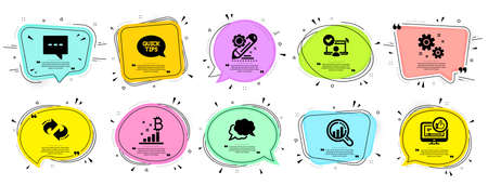 Technology icons set. Speech bubble offer banners. Vector coupon badge. Included icon as Chat message, Quickstart guide, Refresh signs. Work, Blog, Like video symbols. Vector