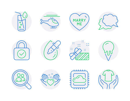 Line icons set. Included icon as Search employees, Helicopter, Marry me signs. Eye drops, Chat message, Cloud computing symbols. Hold heart, Water glass, Security lock. Present, Ice cream. Vector