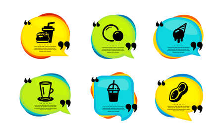 Coffee cocktail, Peas and Teacup icons simple set. Speech bubble with quotes. Ice cream, Hamburger and Peanut signs. Milkshake, Vegetarian seed, Tea or latte. Vector Çizim