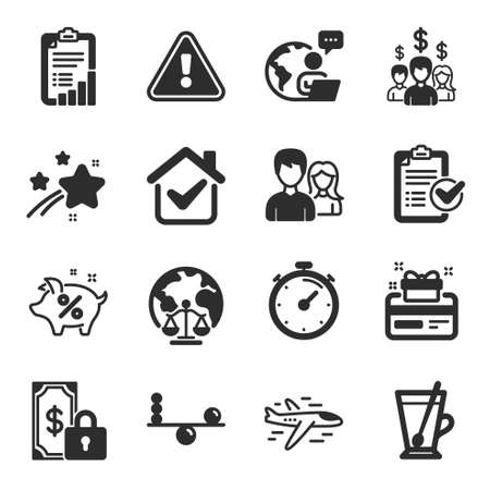 Set of Business icons, such as Survey checklist, Teamwork, Airplane symbols. Salary employees, Balance, Tea mug signs. Private payment, Timer, Loyalty card. Loan percent, Magistrates court. Vector