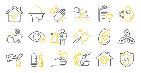 Set of Healthcare icons, such as Wash hands, Medical mask, Washing hands symbols. Animal tested, Myopia, Patient history signs. Uv protection, Hypoallergenic tested, Pet shelter. Vector