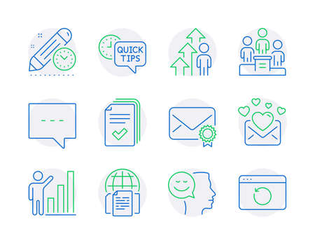 Education icons set. Included icon as Employee result, Handout, Love mail signs. Blog, Verified mail, Project deadline symbols. Graph chart, Business podium, Internet documents. Good mood. Vector