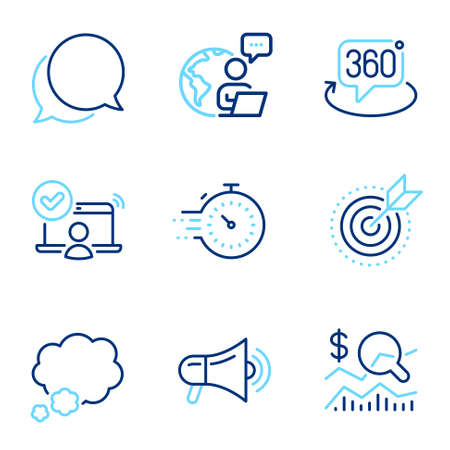 Technology icons set. Included icon as 360 degree, Target purpose, Online access signs. Chat message, Talk bubble, Timer symbols. Check investment, Megaphone line icons. Line icons set. Vector