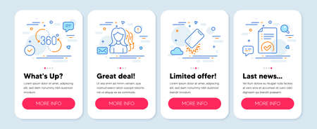 Set of Business icons, such as Women headhunting, Smartphone broken, 360 degree symbols. Mobile screen banners. Approved document line icons. Women teamwork, Phone crash, Virtual reality. Vector Ilustração