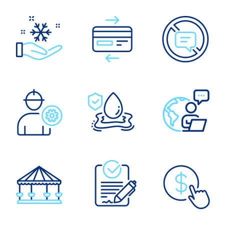 Business icons set. Included icon as Freezing, Buy currency, Credit card signs. Stop talking, Engineer, Rfp symbols. Flood insurance, Carousels line icons. Air conditioner, Money exchange. Vector