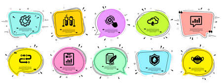 Science icons set. Speech bubble offer banners. Vector coupon badge. Included icon as Analytical chat, Feather signature, Methodology signs. Vector
