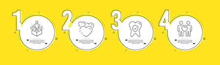 Augmented reality, Dental insurance and Heart line icons set. Timeline process infograph. Friends couple sign. Virtual reality, Oral medicine, Love. Friendship. People set. Vector
