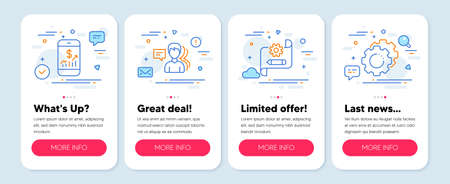 Set of Business icons, such as Cogwheel blueprint, Mobile finance, People symbols. Mobile app mockup banners. Settings gears line icons. Edit settings, Phone accounting, Support job. Vector
