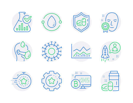 Science icons set. Included icon as Timer, Cold-pressed oil, Startup signs. Face verified, Sick man, Coronavirus symbols. Settings gear, Bitcoin system, Medical tablet. Trade infochart. Vector
