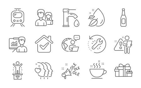 Coffee cup, Friends couple and Holiday presents line icons set. Water drop, Beer and Recovery tool signs. Ole chant, Train and Presentation symbols. Winner podium, Tap water and Couple. Vector